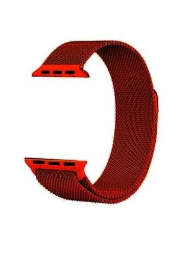 Jacobson Apple Watch  42 Mm 44 Mm Hasır Örgü Metal Milano Kordon Kırmızı